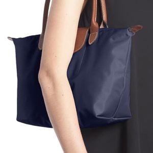 Longchamp Small Le Pliage Nylon Shoulder Tote Blue
